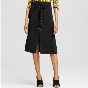 Womens Who What Wear Black Lace up A-line Skirt